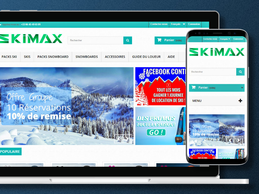 Site e-commerce Prestashop Skimax Chamonix